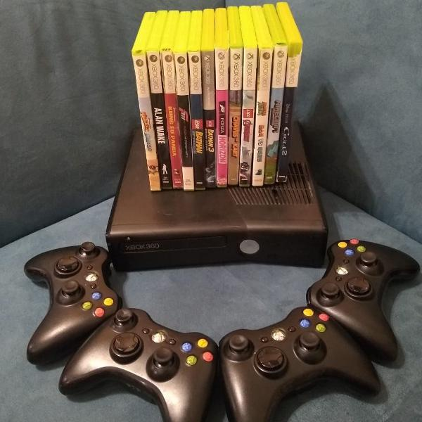 Xbox 360 slim seminovo + 4 controles + 12 jogos