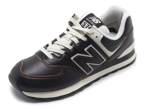 Tênis new balance 574 classics couro nb - preto original