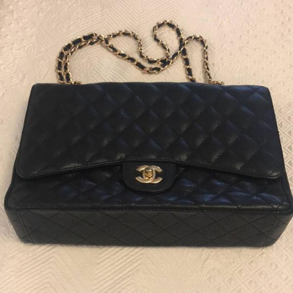 Bolsa chanel couro caviar jumbo double flap luxo