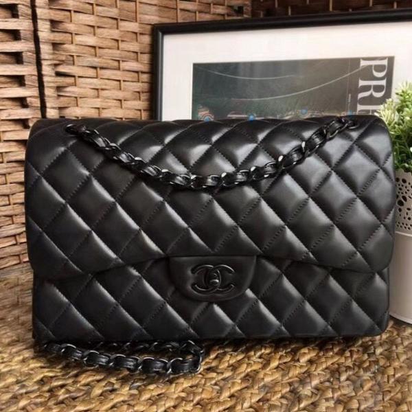 Bolsa chanel jumbo 30cm all black pronta entrega nova
