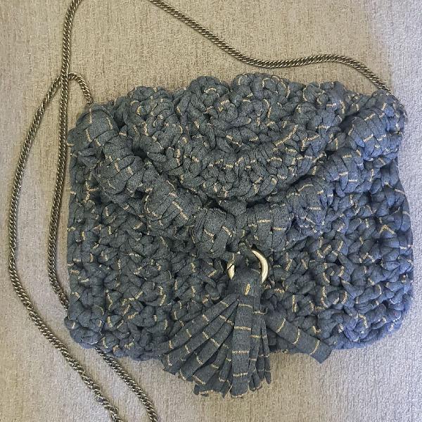 Bolsa/clutch crochet com lurex