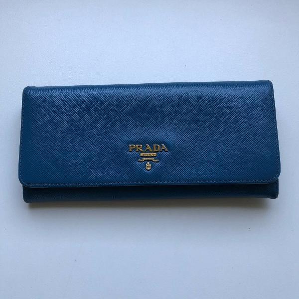 carteira prada azul cobalto - original