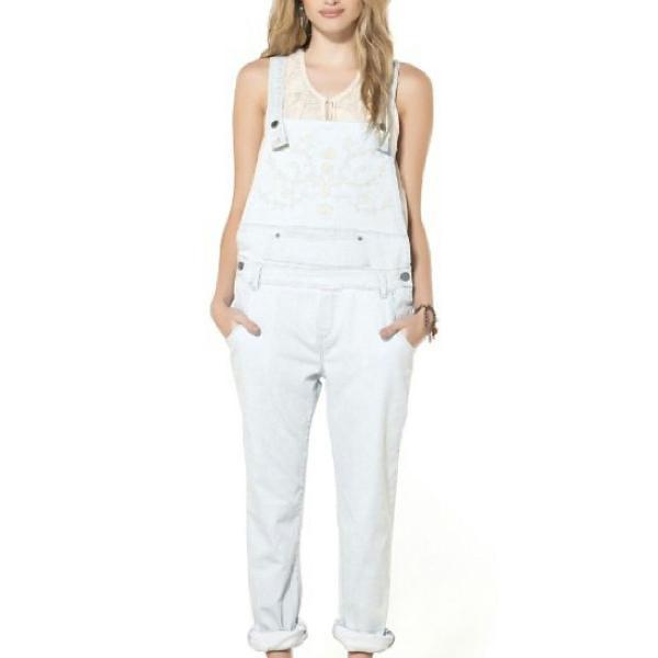 Jardineira bordada jeans cantão