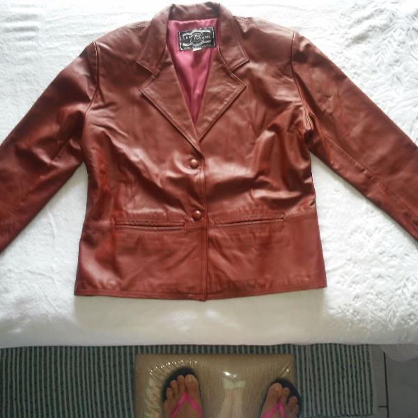 Casaco de couro legítimo (100% couro)