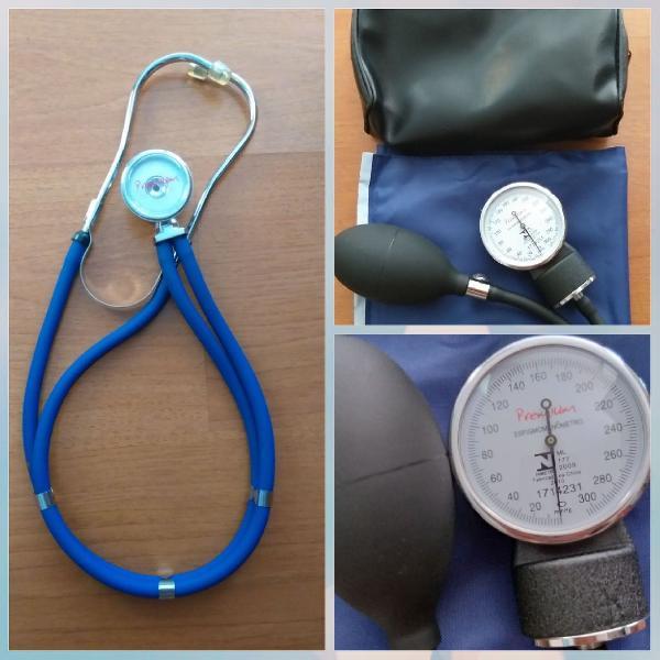 Kit esfigmomanômetro + estetoscopio premium