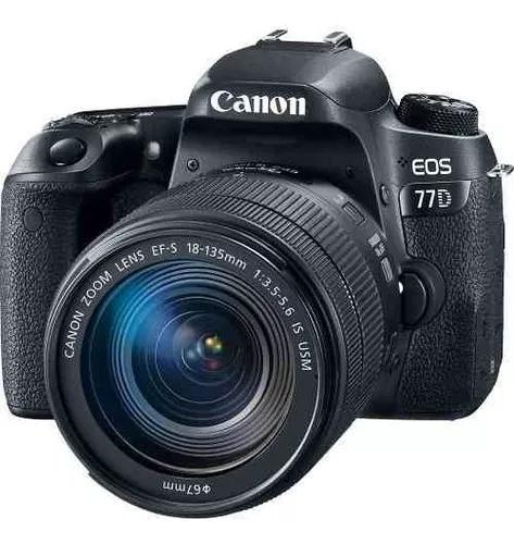 Câmera canon dslr eos 77d com lente 18-135mm is usm
