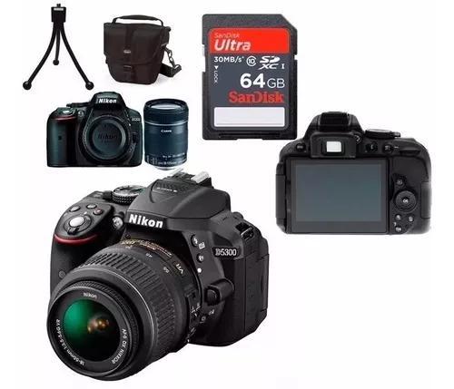 Câmera nikon d5300 full hd 18-55mm+64gb+bolsa+tripé s/j nf
