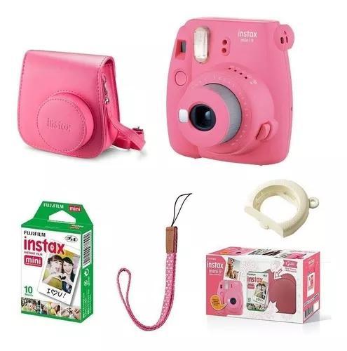 Kit câmera fujifilm instax mini 9 rosa flamingo + 10 fotos
