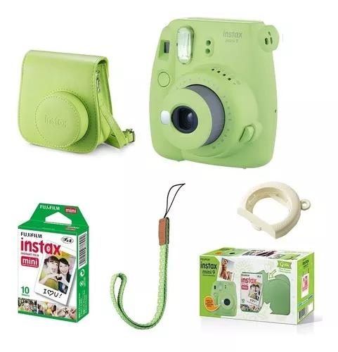 Kit câmera fujifilm instax mini 9 verde lima + 10 fotos