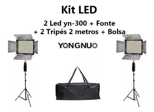 Kit led com 2 yn-300 iii + fonte + tripé