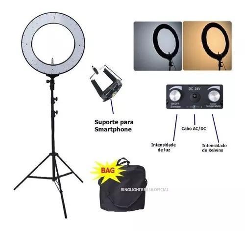 Kit profissional pro leds 60w iluminador ring light completo