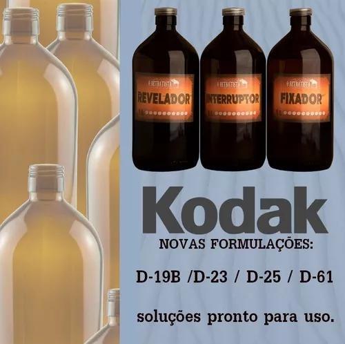 Reveladores kodak d19-b, d23, d25, d61 - kit 1l pronto p uso