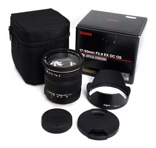 Sigma 17-50mm f2.8 ex dc os hsm + parasol (p/ canon) s/j