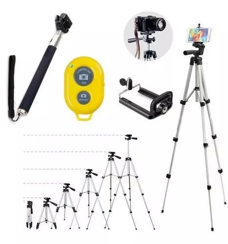 Tripé binóculo profissional sl-2111 1,30 mts + kit selfie