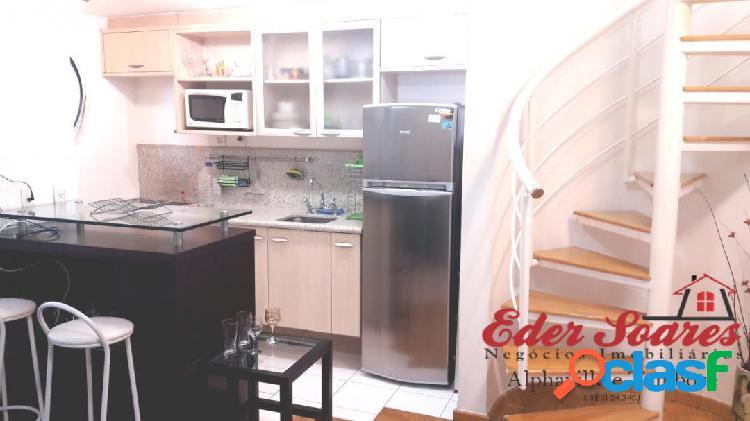 Apartamento mobiliado e decorado para locação por r$ 2.200,00