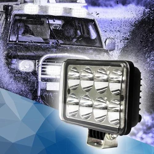 Farol de milha 24w 8 led 12v 24v carro jeep troller