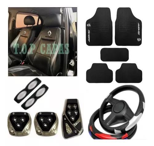 Kit capa couro tapete volante pedal renault promoção