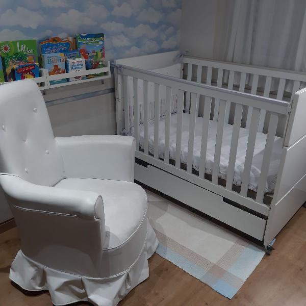 Berço mdf 3x1 + cadeira amamentação + colchão