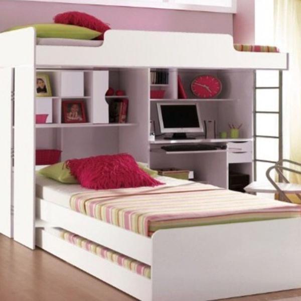 cama triliche com escrivaninha e baú