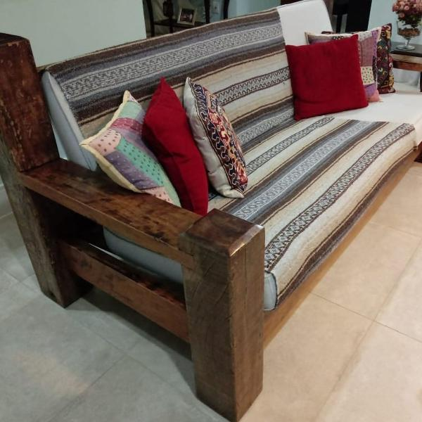 Conjunto de sofás madeira maciça embu das artes