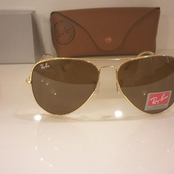Culos de sol ray-ban aviador rb 3026 armação dourado com
