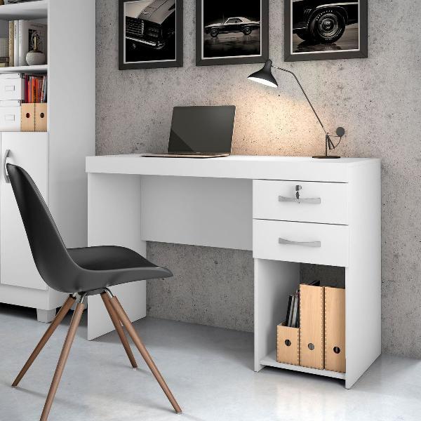 Escrivaninha branca mesa estudo notebook computador trabalho