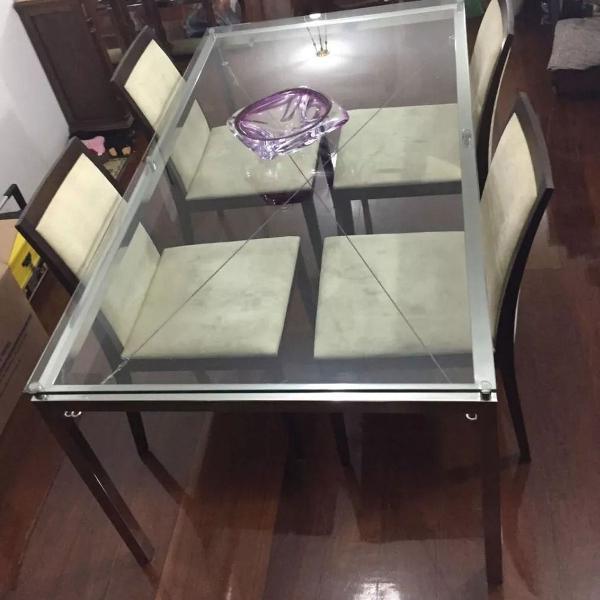 Mesa jantar + 4 cadeiras camurçada bege sala