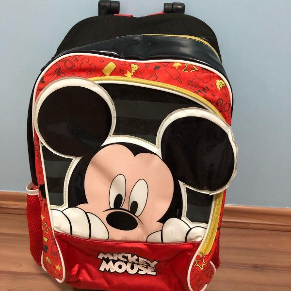 Mochila escolar mickey mouse infantil disney mala com rodas