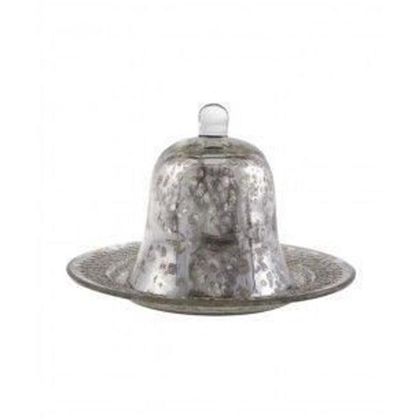 Prato com cloche de vidro envelhecido