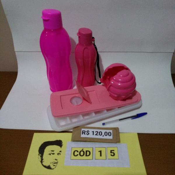 Tupperware kit cor-de-rosa garrafa de 1 l + 500 ml + bandeja