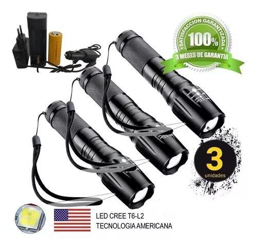 3 lanternas tática militar x900 recarregável police zoom