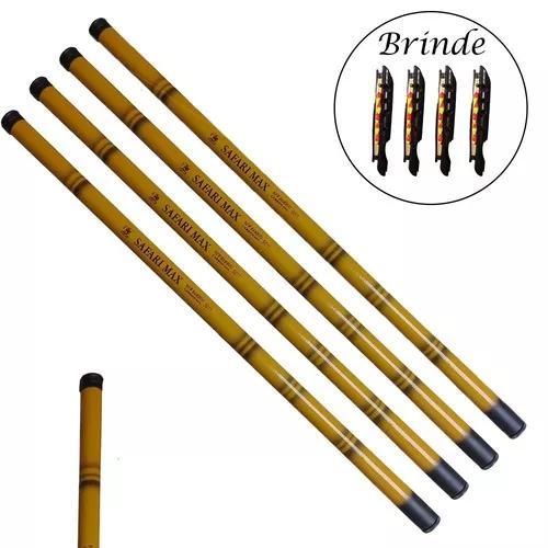 4 vara de pesca 60% carbono bambu 4,5 mts 10 lbs tucunaré