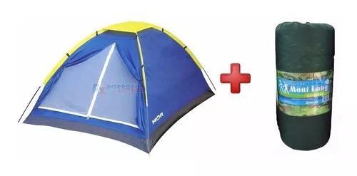 Barraca camping 2 pessoas mor 2,05x1,45 + colchonete casal
