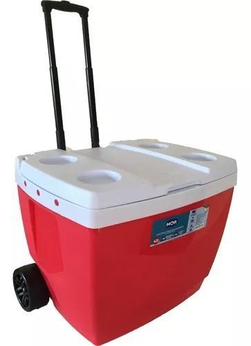 Caixa térmica c/ rodas 42 litros cooler azul ou vermelha