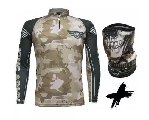 Camisa de pesca + bandana king army camuflada proteção