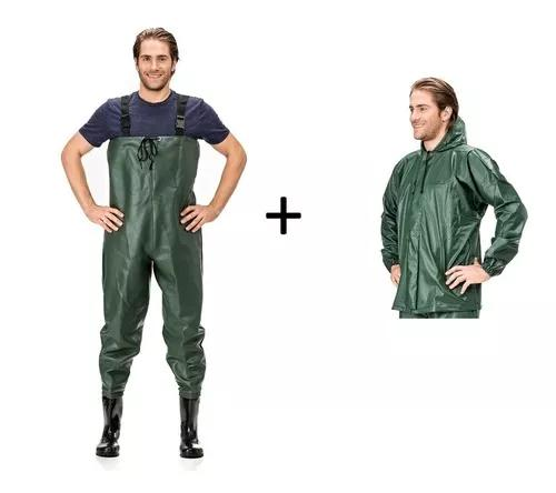 Combo jardineira macacão bota + jaqueta pesca imperm pvc