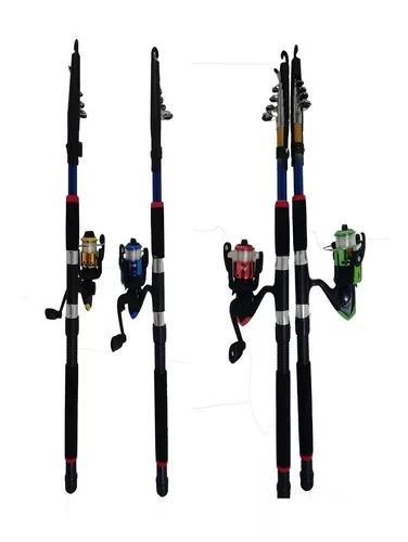 Kit pesca pesqueiro 4 vara 1,70m 4 molinete 2 rol linha 400m