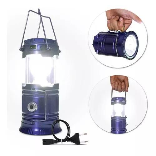 Lampião led luminária recarregável solar camping pesca
