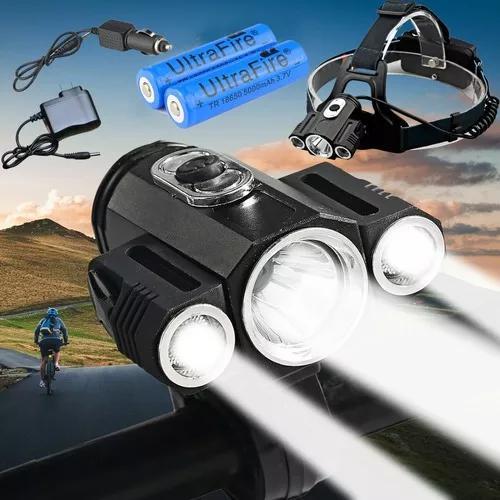 Lanterna / farol de cabeça bike 3 led cree t6 recarregável