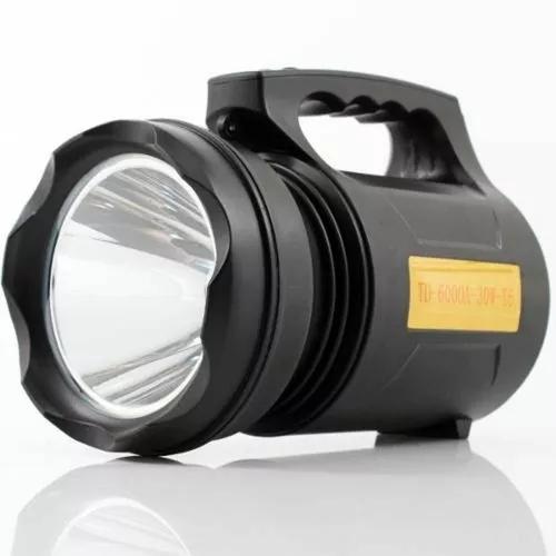 Lanterna holofote led t6 lumens tatica recarregável 30w