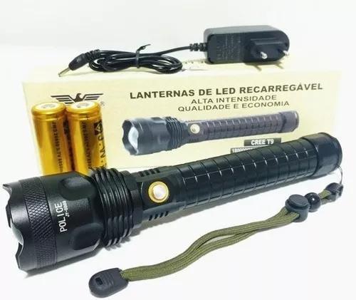 Lanterna recarregável led t9 jy-8869 mais potente - c/nfe