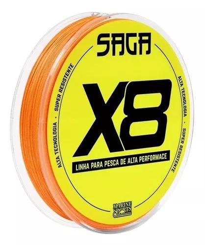 Linha multifilamento 8 fios 8x laranja verde saga x8 150m