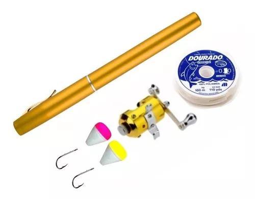 Mini vara caneta de pesca c/ carretilha linha+anzól+bóia
