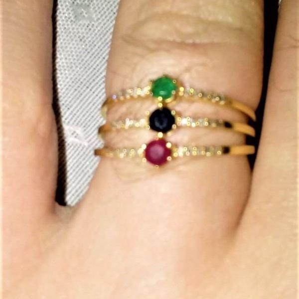 anel 3 aros ouro 18k e diamantes da joalheria monte carlo