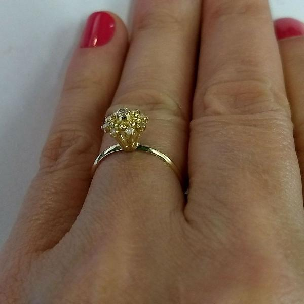 Anel de ouro chuveiro de diamantes