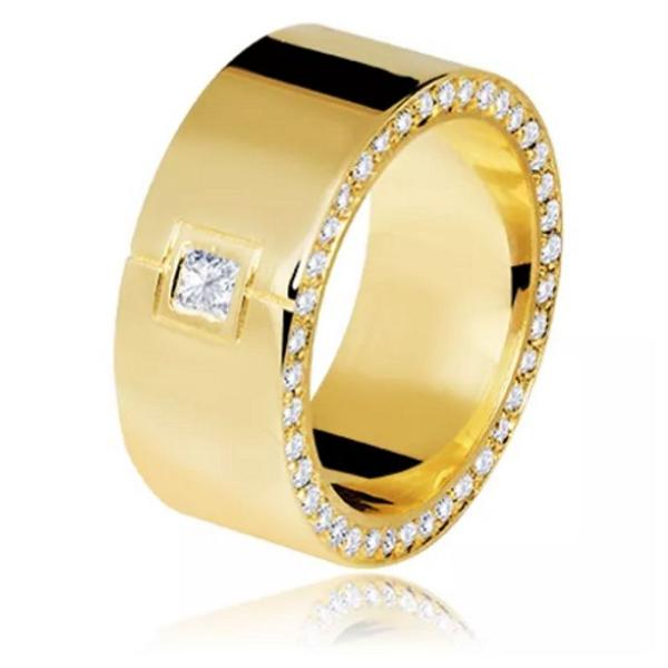 Anel luxuoso em ouro 18k e diamantes