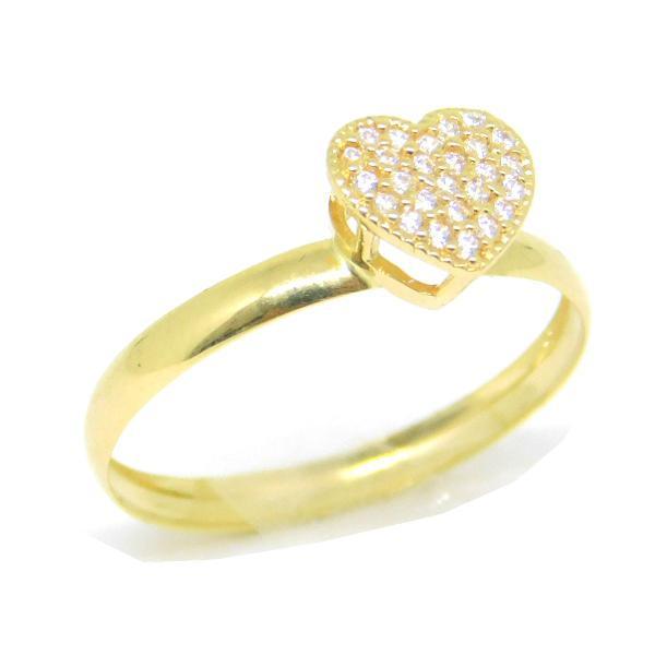 Anel solitário coração ouro 18k 750 zircônia noivado