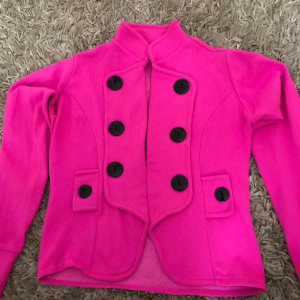 Blusa manga longa em tricot pink flúor