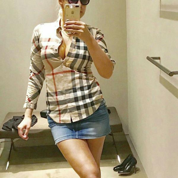 Camisa clássica burberry feminina