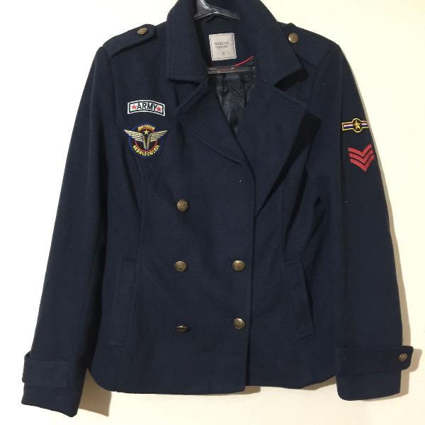Casaco azul estilo militar/aeronáutica bluesteel